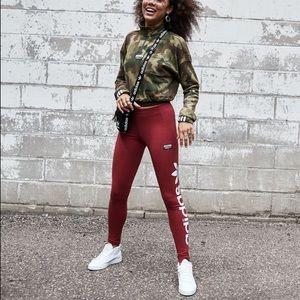 Adidas Burgundy Track Leggings